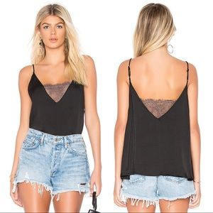 FREE PEOPLE Deep V Bandeau lace Cami Black Size L